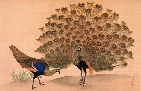 M. Okyo japanese peacock woodblock painting