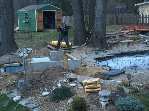 4.12.2016 It's 8:00 pm, do you know where your pond digger is? Mine is busy working on the footings for the new deck that will go over the upper pond equipment pit.