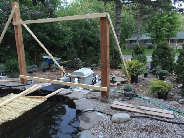 The first point of the shade element for the lower pond have been installed, squared and braced. The braces may come down over the weekend and there are a lot of plants to be put into the ground.
