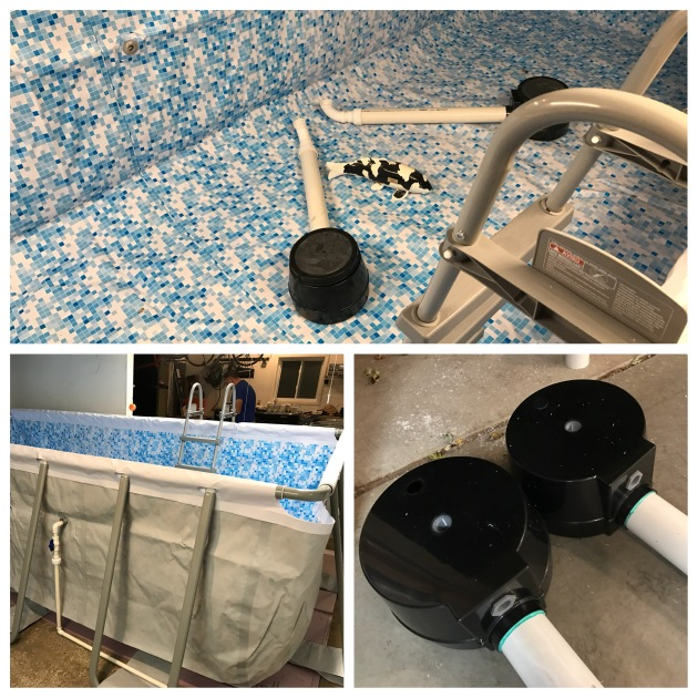 """New retro bottom drains and installing the overflow pipe. The shiro utsuri between the bottom drains is about 21"""" long."""