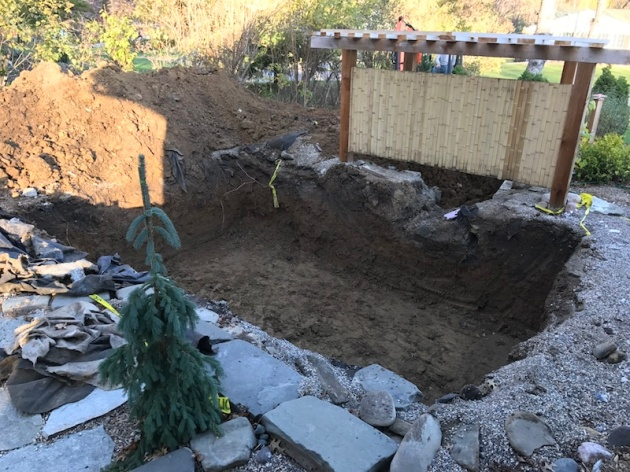 We'll need to tarp the pile of dirt and the hole to keep it warm.  The concrete will be poured next week. Hopefully our scheduled snow event two days from now will not hinder the concrete work.