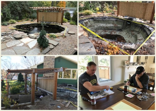 Planning starts as we close down the pond in October. We asked our friend Matt Sklar, Kenzen Koi Food manufacturer, to help design the pond. I asked for a pond that has a little less turbulence on the surface.
