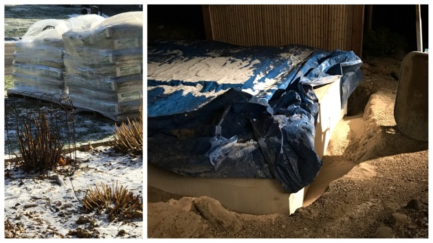 With cold temps in the forecast, the pond digger had two pallets of sand delivered. He spent one evening after work moving 5500 pounds of sand into the lower pond site to protect our recent pour.